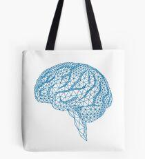 blaues menschliches Gehirn mit geometrischem Maschenmuster Tote Bag