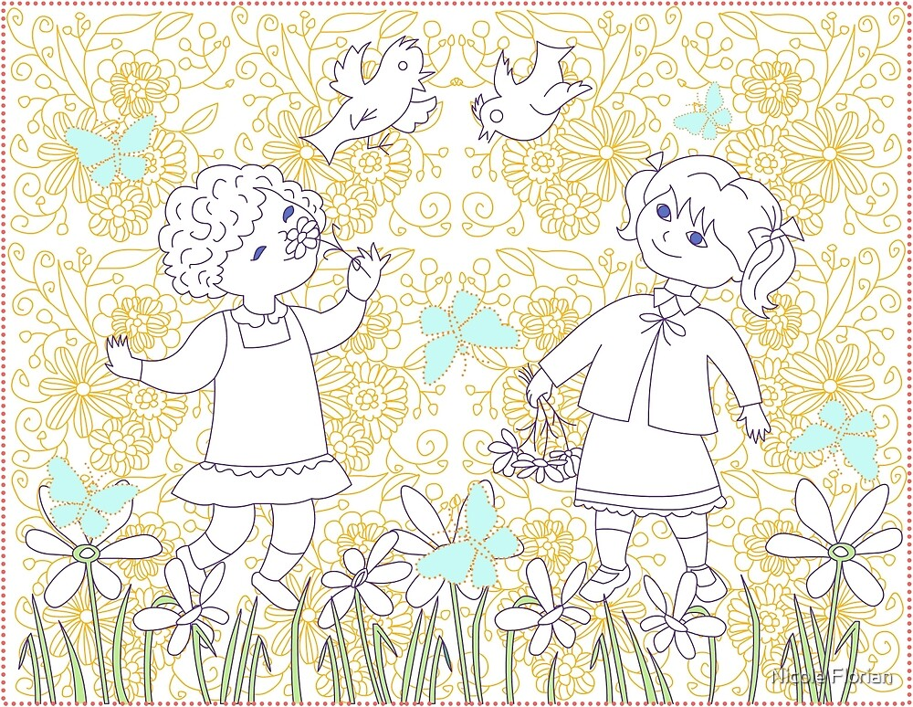 Spring coloring page by Nicole Florian
