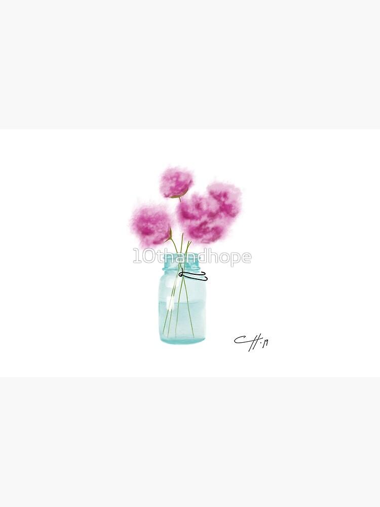 Weinlese-blaues Weckglas und Blumen von 10thandhope