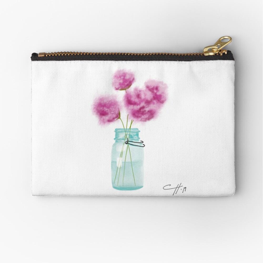 Weinlese-blaues Weckglas und Blumen Täschchen