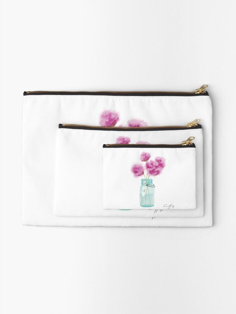 Alternative Ansicht von Weinlese-blaues Weckglas und Blumen Täschchen