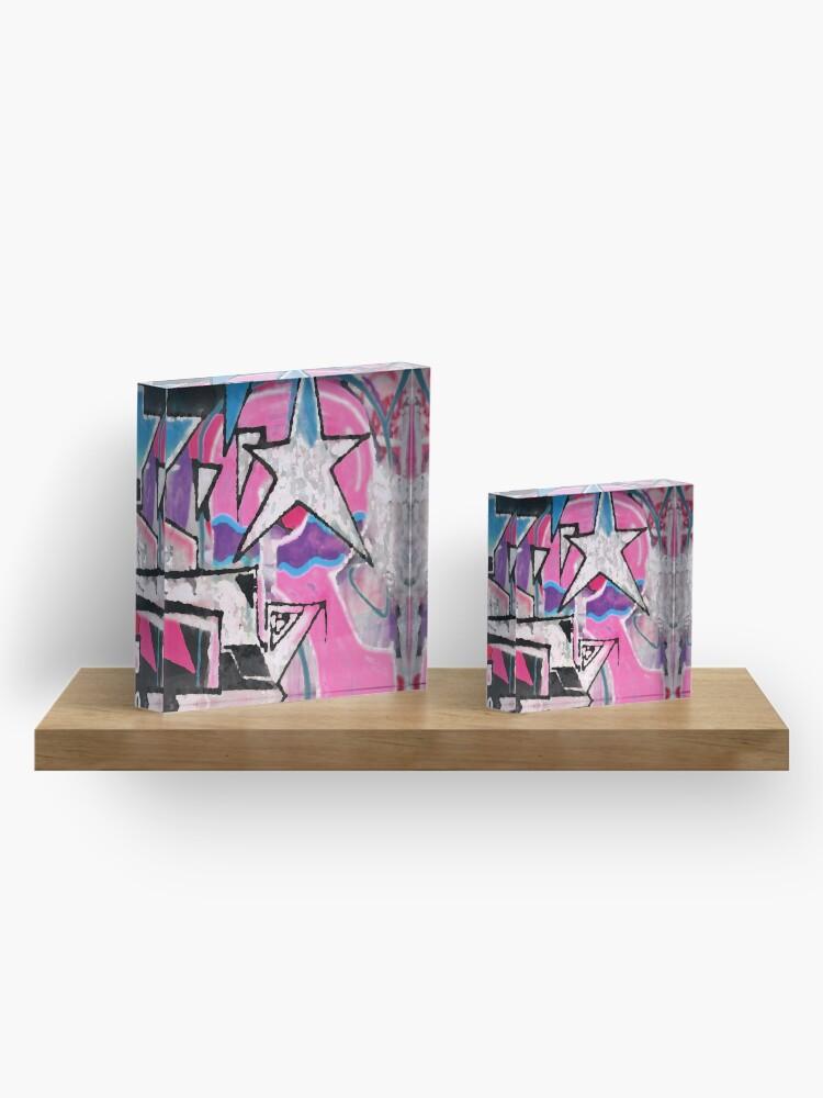 Alternative Ansicht von GRAFFITI POPART STREETART MIT STERN PINK Acrylblock