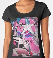 GRAFFITI POPART STREETART MIT STERN PINK Premium Rundhals-Shirt