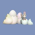 Kawaii Easter Bunny hatching from colored Easter Eggs (B) by talgursmusthave