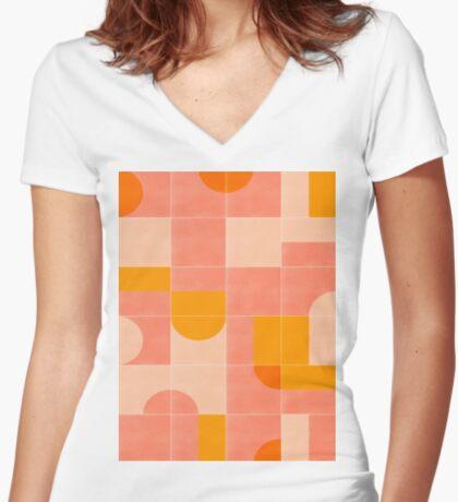 Retro Tiles 03 #redbubble #pattern Fitted V-Neck T-Shirt