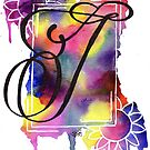 Calligraphy Capital Initial J by Fiona Fletcher