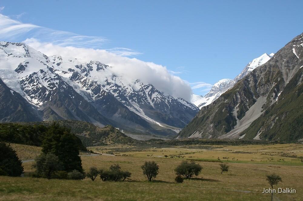 New Zealand Landscape, near Mount Cook. by John Dalkin