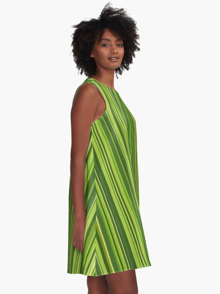 Alternative Ansicht von Viele bunte Streifen in Grün A-Linien Kleid