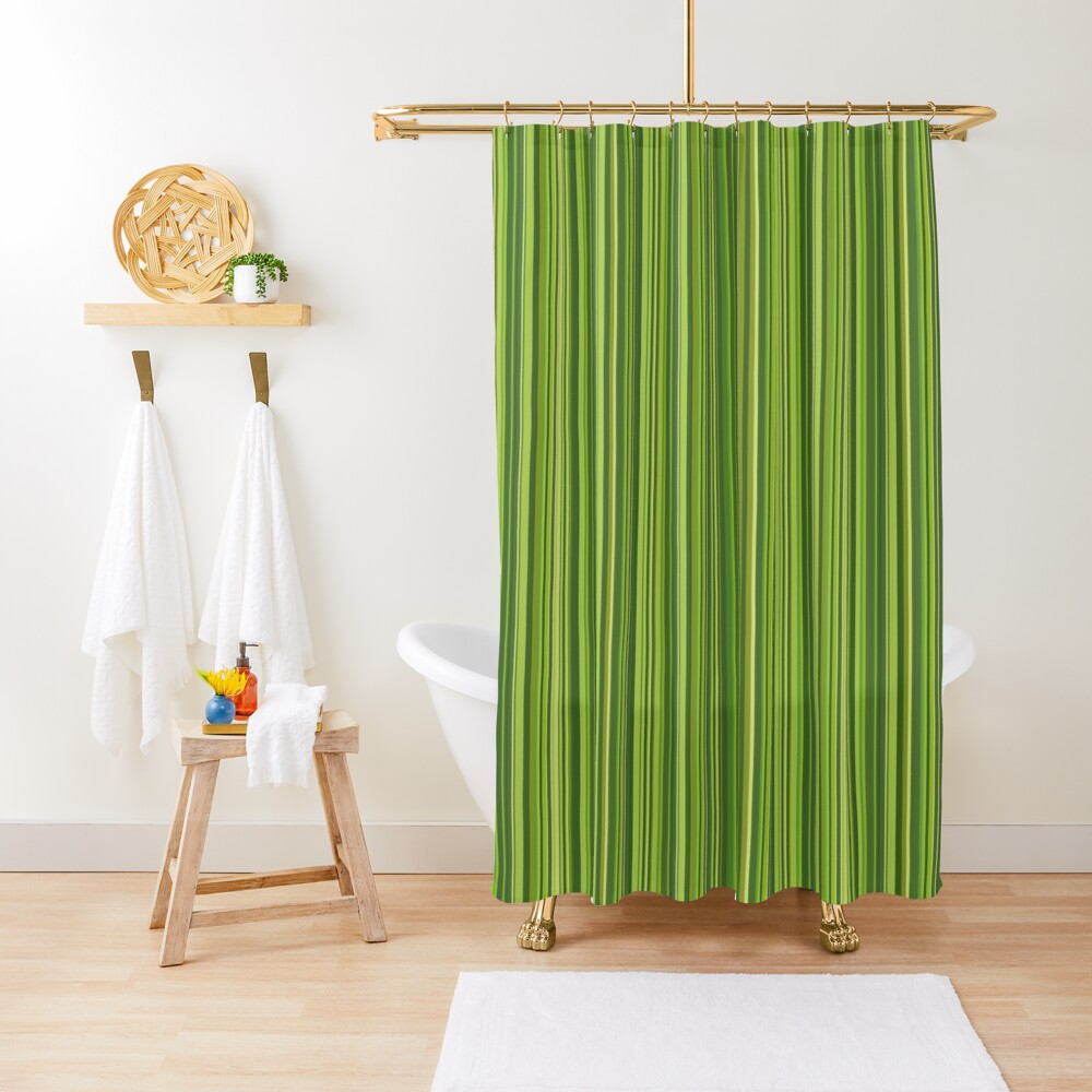Viele bunte Streifen in Grün Duschvorhang