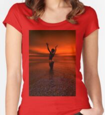 Erotic art hot sex Girl on the beach Women's Fitted Scoop T-Shirt