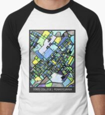 ABSTRACT MAP OF STATE COLLEGE, PA Baseball ¾ Sleeve T-Shirt