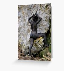 Erotic art hot sex girl on the rock Greeting Card