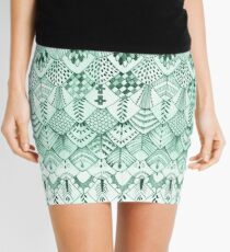 Owl Feathers in Mint Mini Skirt