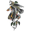 Traditional Dual Eagles Tattoo Design by FOREVER TRUE TATTOO