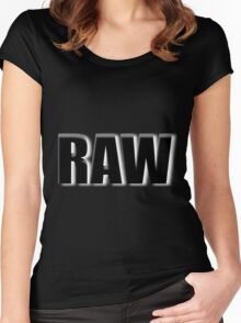 black raw Women's Fitted Scoop T-Shirt