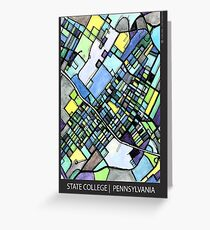 ABSTRACT MAP OF STATE COLLEGE, PA Greeting Card