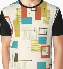 Retro, Mid Century Modern, Atomic, Abstrakt Türkis Orange Olivgrün Grafik T-Shirt