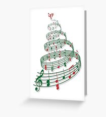 Christmas tree with music notes and heart Grußkarte