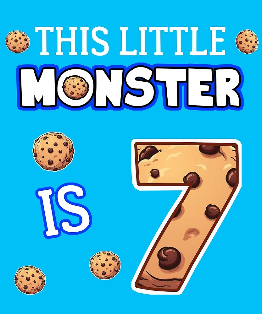 This Little Monster Is 7 7th Birthday Gift Ideas For Years Old Cookie And Monsters Lover Kids