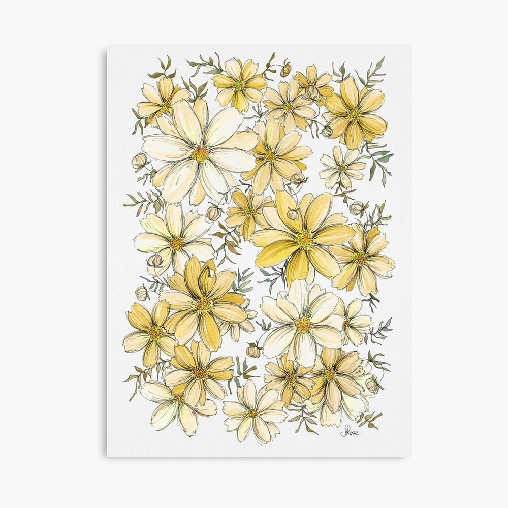 Gold and Cream Flower Pattern Canvas Print