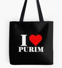Ich liebe Purim mit Herz Tasche