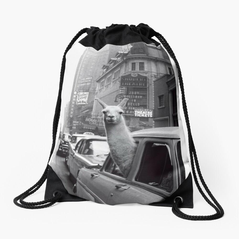 New York Llama Drawstring Bag