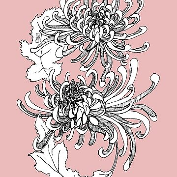 Infinity Chrysanthemum - Detailed Ink design by kikoeart