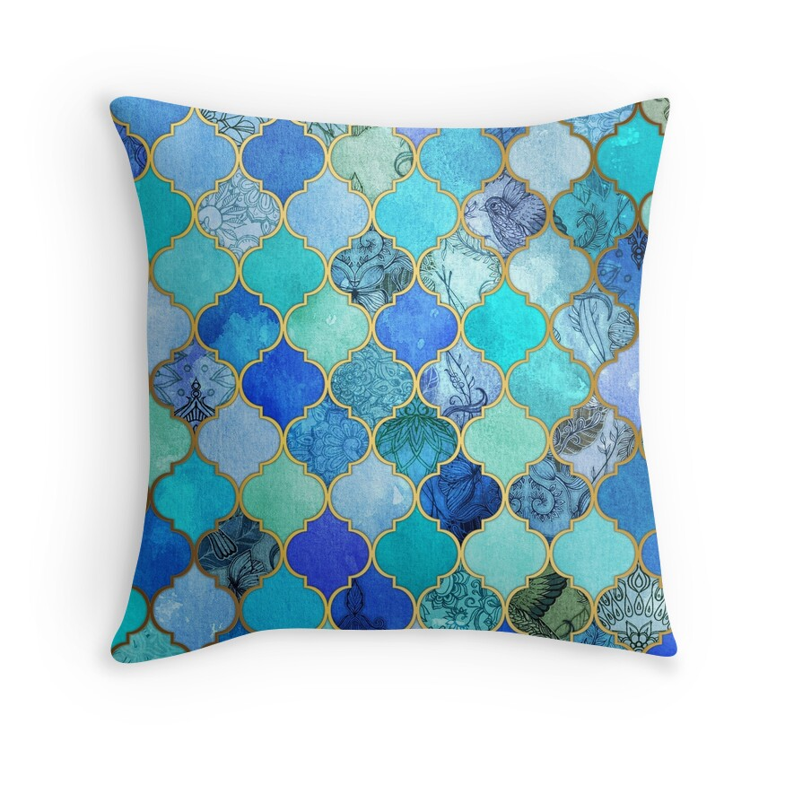 Quotcobalt blue aqua gold decorative moroccan tile pattern for Blue and gold pillows