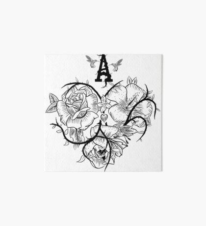 Ace of Hearts Flowers Art Board Print