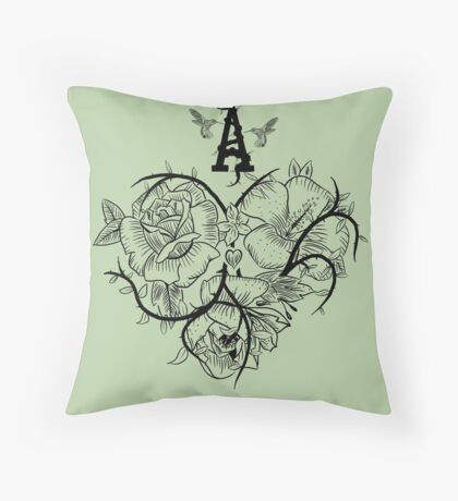 Ace of Hearts Flowers Throw Pillow