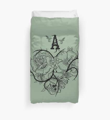 Ace of Hearts Flowers Duvet Cover