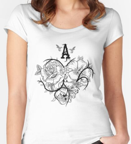 Ace of Hearts Flowers Fitted Scoop T-Shirt