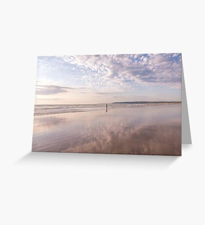 Reflections at Westward Ho! beach in North Devon, UK Greeting Card