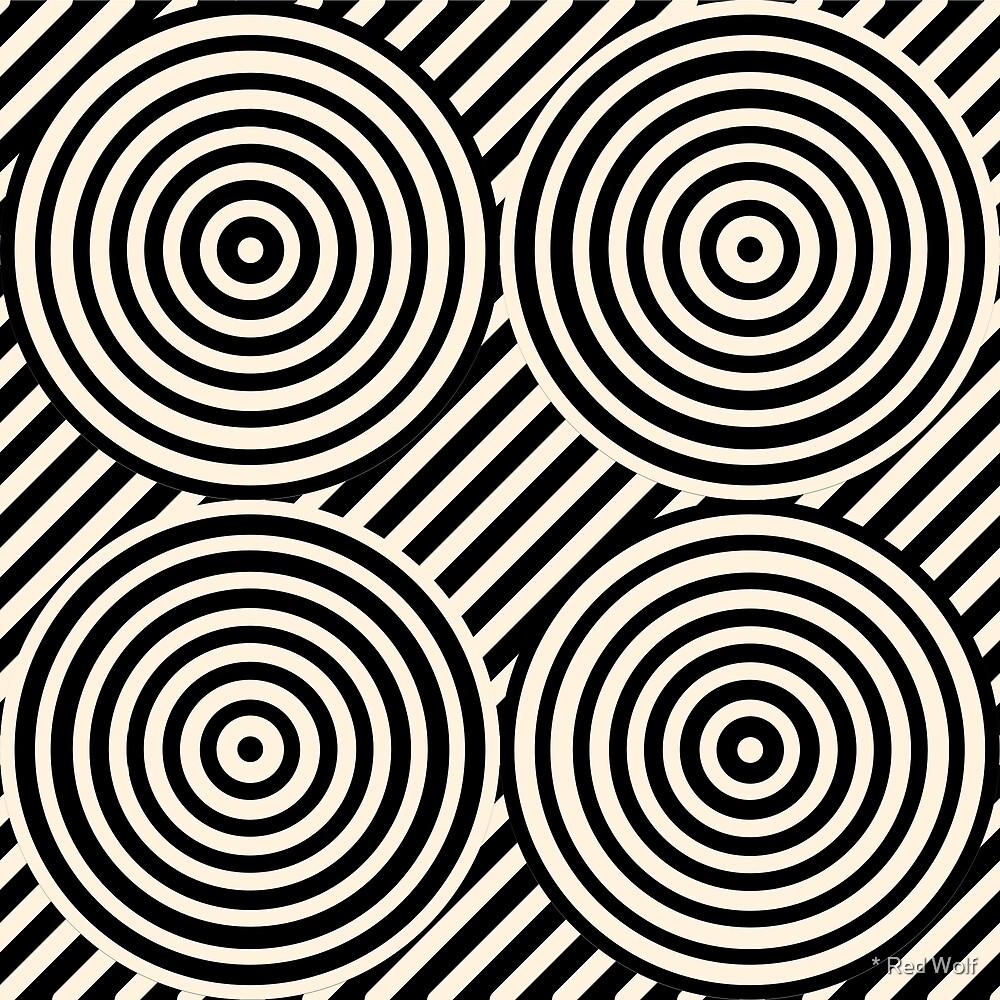 Geometric Pattern: Circle Strobe: Black/Cream by * Red Wolf