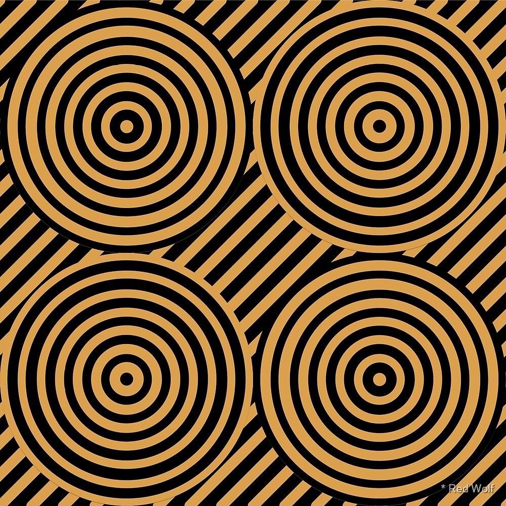 Geometric Pattern: Circle Strobe: Black/Gold by * Red Wolf