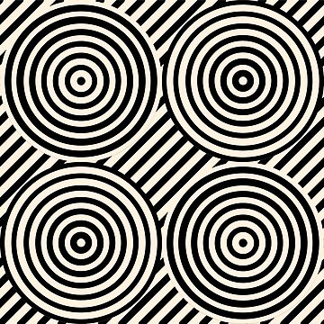 Geometric Pattern: Circle Strobe: Cream/Black by redwolfoz