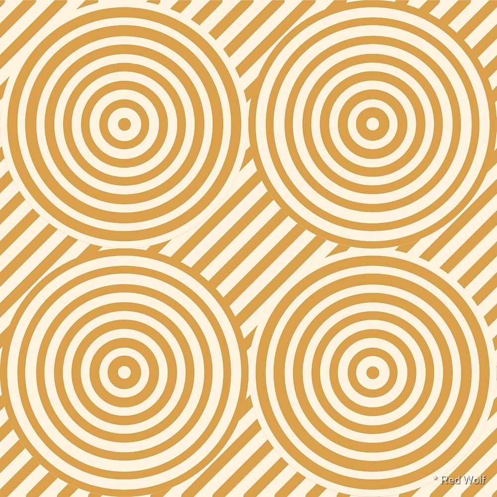 Geometric Pattern: Circle Strobe: Cream/Gold by * Red Wolf