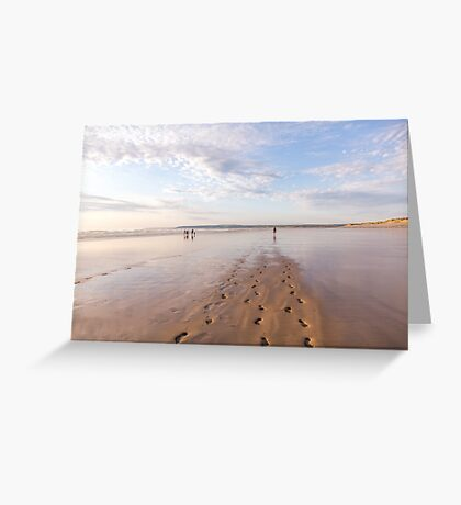 Footprints in the sand at Westward Ho! beach in North Devon, UK Greeting Card