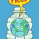 Earth trapped inside a plastic bottle asking for help by Zoo-co