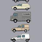 Citroen Classic Vans artwork - Fourgonnette, GS Service, H Van, Acadiane, C15 by RJWautographics
