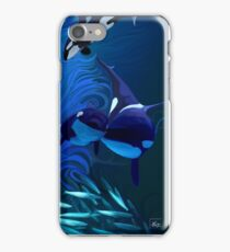 Orca, killer whale playing with bait ball of fish iPhone Case/Skin