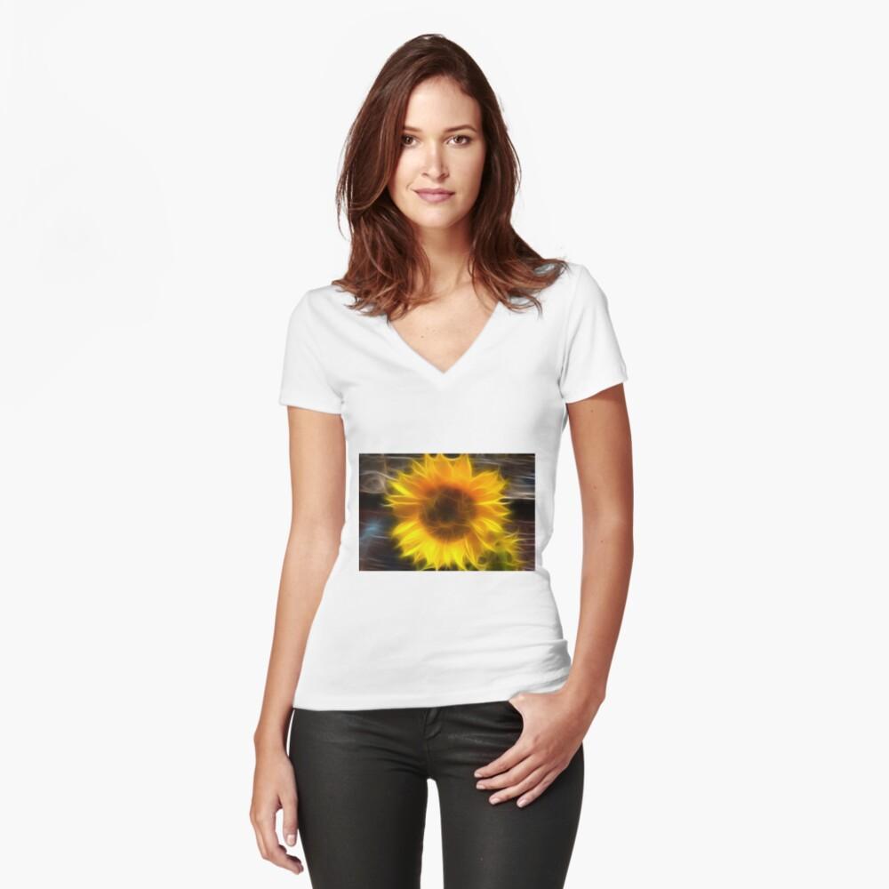 SHINY SUNFLOWER Women's Fitted V-Neck T-Shirt Front
