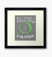 Cute Girls Volleyball Gift Its My Religion Framed Print