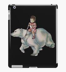 Cartoon Girl Child Riding Polar Bear Drawing  iPad Case/Skin