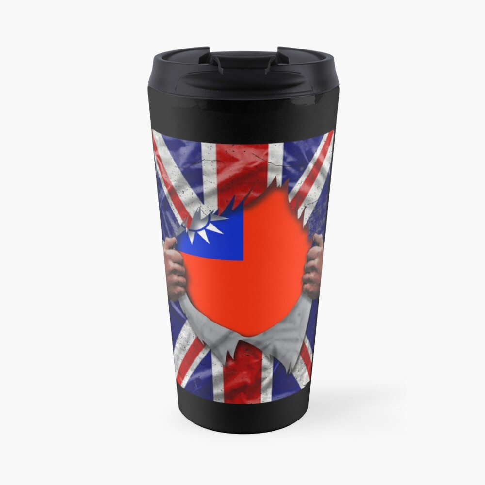 Taiwanese Flag Ripped - Born In United Kingdom Roots From Taiwan Travel Mug