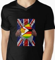 Zimbabwean Flag Ripped - Born In United Kingdom Roots From Zimbabwe T-Shirt mit V-Ausschnitt für Männer