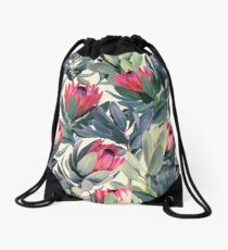 Painted Protea Pattern Drawstring Bag