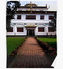 white gompa. bouddhanath, kathmandu Poster