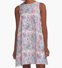Lovely Hearts Hand Drawn Pastel A-Line Dress