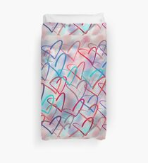 Lovely Hearts Hand Drawn Pastel Duvet Cover
